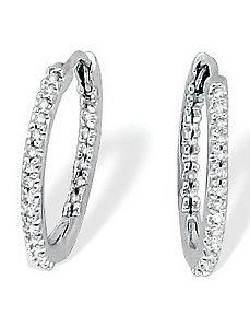 10k Gold Diamond Hoop Earrings by PalmBeach Jewelry