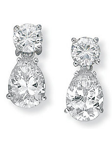 Cubic Zirconia Silver Earrings by PalmBeach Jewelry