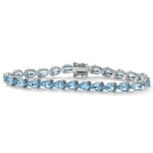 """Blue Topaz Silver Bracelet 7 1/2"""""""