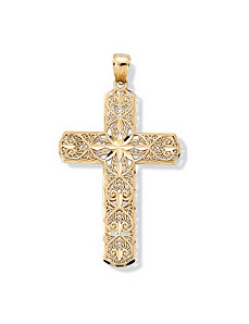 10k Gold Diamond-Cut Cross Pendant by PalmBeach Jewelry
