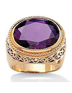 Purplecubic zirconia 18k/SS Ring by PalmBeach Jewelry