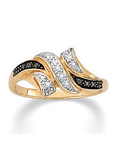 Black/White Diamond Accent 10k Ring by PalmBeach Jewelry