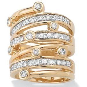 Cubic Zirconia 18k/SS Multi-Row Ring
