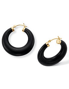 Recon. Onyx Hoop Pierced Earrings by PalmBeach Jewelry