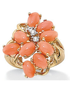 Coral 18k/SS Cluster Ring by PalmBeach Jewelry