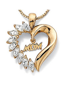 "Cubic Zirconia 18k/SS Mom Heart/Chain 18"" by PalmBeach Jewelry"