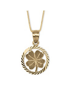 14k Gold Four-Leaf Clover Pendant by PalmBeach Jewelry