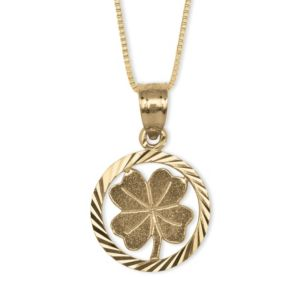 14k Gold Four-Leaf Clover Pendant