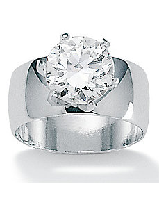 Cubic Zirconia Silver Ring by PalmBeach Jewelry