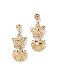 10k Gold Starfish Seashell Earrings by PalmBeach Jewelry
