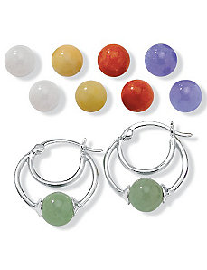 Jade SS Interchangeable Earring Set by PalmBeach Jewelry