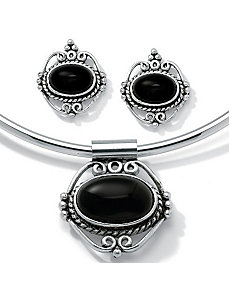 2-Piece Onyx Collar/Earring Set by PalmBeach Jewelry