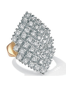 18k/SScubic zirconia Cluster Ring by PalmBeach Jewelry