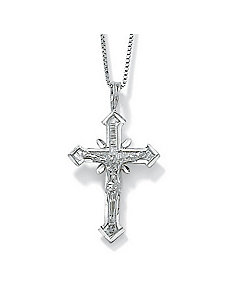 14k White Gold Crucifix Pendant by PalmBeach Jewelry