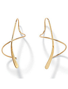 14k Gold Spiral Pierced Earrings by PalmBeach Jewelry