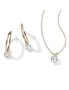 2-Piececubic zirconia 10k Gold Set by PalmBeach Jewelry