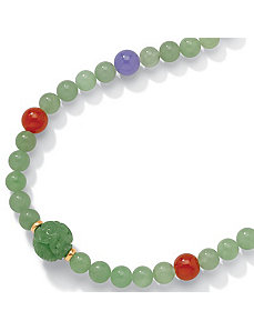 Green Jade 14k Gold Necklace by PalmBeach Jewelry