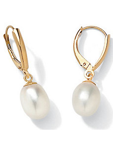 Pearl 14k Gold Earrings by PalmBeach Jewelry