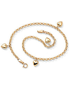 "10k Puffed Heart Ankle Bracelet 9"" by PalmBeach Jewelry"