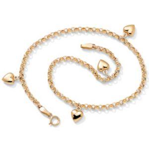 """10k Puffed Heart Ankle Bracelet 9"""""""