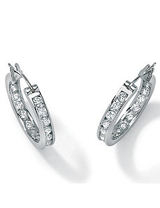 Cubic Zirconia Platinum/Silver Earrings by PalmBeach Jewelry