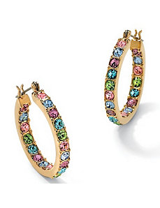 Multi-Color Crystal Hoop Earrings by PalmBeach Jewelry