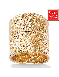 18k/SS Hammered-Style Ring by PalmBeach Jewelry