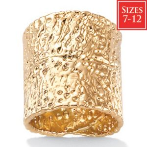 18k/SS Hammered-Style Ring
