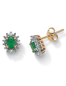 Emerald 10k Gold Earrings by PalmBeach Jewelry