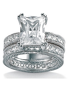 Two-Piececubic zirconia SS Wedding Set by PalmBeach Jewelry