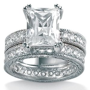 Two-Piececubic zirconia SS Wedding Set