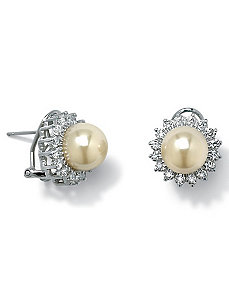 Sim. Pearl Silver Earrings by PalmBeach Jewelry