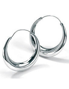 Silver Hoop Earrings by PalmBeach Jewelry