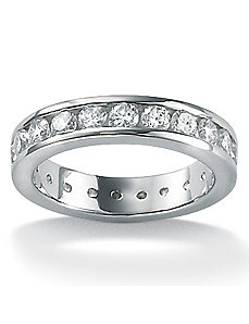 Cubic Zirconia Platinum/SS Round Eternity Ring by PalmBeach Jewelry