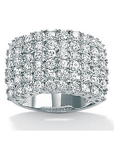Cubic Zirconia Platinum/SS Multi-Row Ring by PalmBeach Jewelry