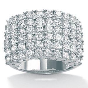 Cubic Zirconia Platinum/SS Multi-Row Ring