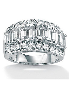 Cubic Zirconia Platinum/SS Baguette Ring by PalmBeach Jewelry