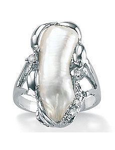 Biwa Pearl Silver Ring by PalmBeach Jewelry