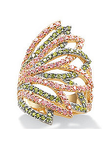 Pink/Greencubic zirconia 18k/SS Ring by PalmBeach Jewelry