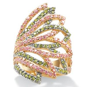 Pink/Greencubic zirconia 18k/SS Ring