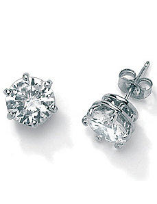 3.94 CT.T.W.Cubic Zirconia Platinum/SS Earrings by PalmBeach Jewelry