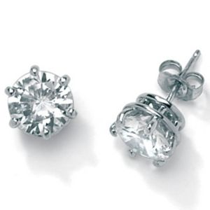 3.94 CT.T.W.Cubic Zirconia Platinum/SS Earrings