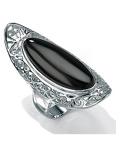 Recon. Onyx Silver Scroll Ring by PalmBeach Jewelry