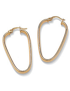10k Gold Oval Geometric Earrings by PalmBeach Jewelry