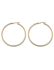 10k Gold Hoop Earrings 50 mm by PalmBeach Jewelry
