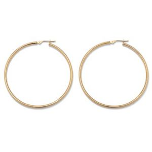 10k Gold Hoop Earrings 50 mm
