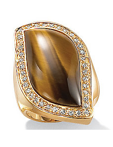 Tigers-Eye/Cubic Zirconia 18k/SS Ring by PalmBeach Jewelry