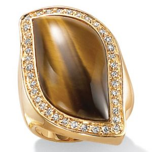 Tigers-Eye/Cubic Zirconia 18k/SS Ring