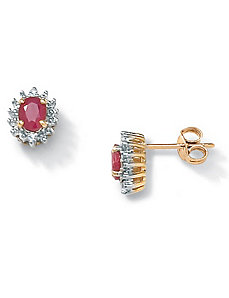 Ruby 10k Gold Earrings by PalmBeach Jewelry