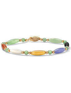 Multi-Color Jade 14k Bracelet 7 1/2 by PalmBeach Jewelry